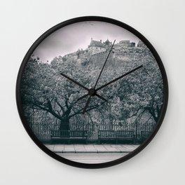 edinburgh castle Scotland vintage style view black and white dirty Wall Clock