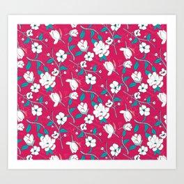 Southern Charm Pink - Magnolias Art Print