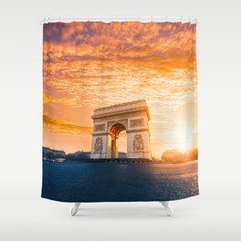 Sunset  Arc de Triomphe Shower Curtain