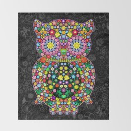 Owl Zentangle Floral   Throw Blanket