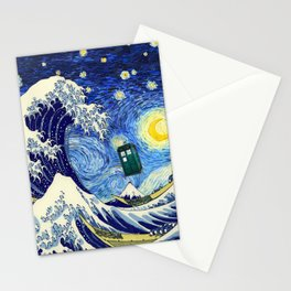 flying tardis in starry night Stationery Cards