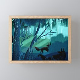 Shadow Wolves Stalk The Silver Wood Framed Mini Art Print