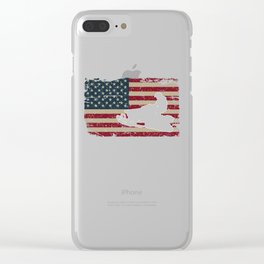 Snowmobile USA Proud America Vintage Flag Gift Clear iPhone Case