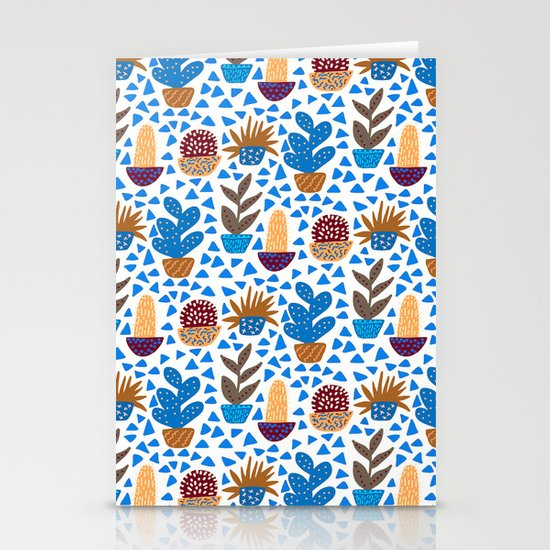 Blue and Brown Cacti Stationery Cards