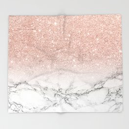 Modern faux rose pink glitter ombre white marble Throw Blanket