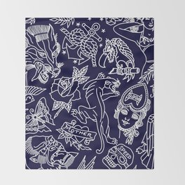 Traditional tattoo blue print Throw Blanket