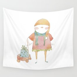 Bird Elf with a Gift Wall Tapestry