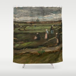 """Vincent van Gogh - Women mending nets in the Dunes (1882) also known as """"Landscape with Net Menders"""" Shower Curtain"""