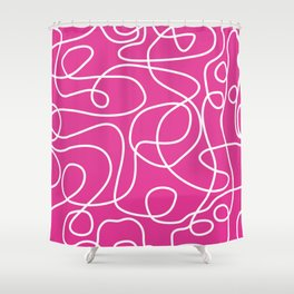 Doodle Line Art | White Lines on Hot Pink Shower Curtain