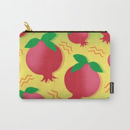 Tropical exotic sweet ripe summer red pomegranate fruits modern artistic sunny bright yellow green pattern design. Carry-All Pouch