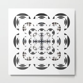 Optical Black and White Peace Mandala Metal Print