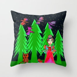 Night Fairy | Before Christmas | Kids Painting Throw Pillow