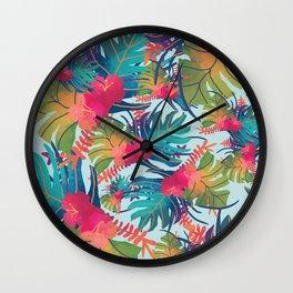 Watercolor Tropical Pattern Wall Clock