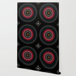 Modern Black White and Red Mandala Wallpaper