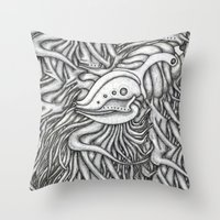 evolution Throw Pillows featuring Evolution  by OKAINA IMAGE