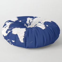 "Navy blue and light brown detailed world map ""Gavin"" Floor Pillow"