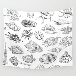 collection of sea shells, black contour on white background Wall Tapestry