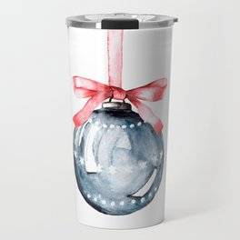 Christmas glass ball, watercolor hand painting. Travel Mug