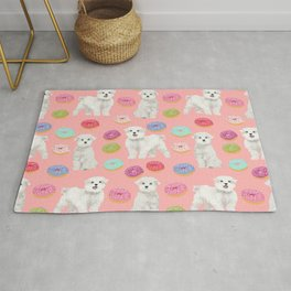 Maltese donuts dog breed funny pet lover dog person pattern print by pet friendly Rug