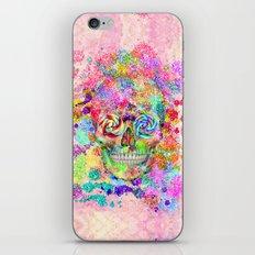 Girly Sugar Skull Pink Glitter Fine Art Paint iPhone & iPod Skin