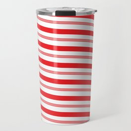 Red and White Candy Cane Pattern Travel Mug