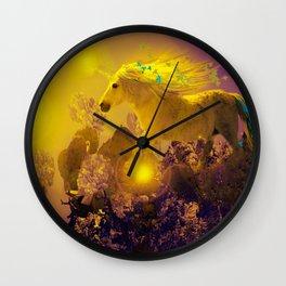 Unicorn In The Night Of Glow - My Fantasy Garden - #society6 Wall Clock