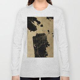 San Francisco California Black and Gold Map Long Sleeve T-shirt