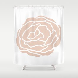 Rose in Vintage Rose Pink on White Shower Curtain