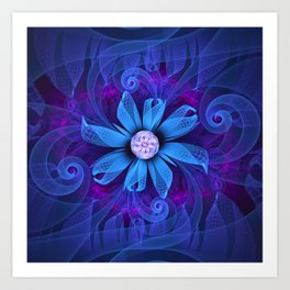 A Snowy Edelweiss Blooming as a Blue Origami Orchid Art Print