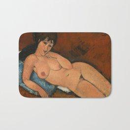 Nude on a Blue Cushion Bath Mat