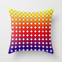 polka dot Throw Pillows featuring Rainbow Dot Candy Polka dot by ForgottenCotton