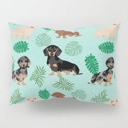 dachshund summer tropical monstera palms dog breed pure breed pets Pillow Sham