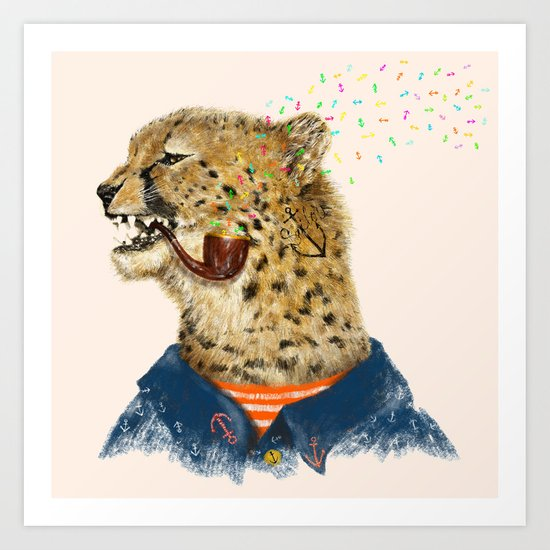 Cheetah Sailor II Art Print