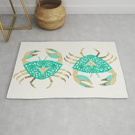 Crab – Turquoise & Gold Rug