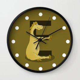 Pony Monogram Letter E Wall Clock