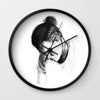 harry styles Wall Clocks featuring Braids by Judit Mallol