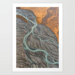Veins of the Godley River, New Zealand Art Print