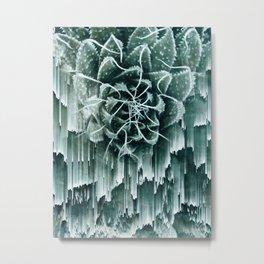 Succulent Glitches Metal Print
