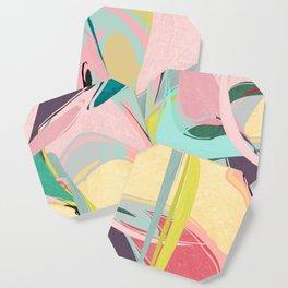 Shapes and Layers no.23 - Abstract Draper pink, green, blue, yellow Coaster