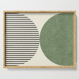 Semicircle Stripes - Green Serving Tray