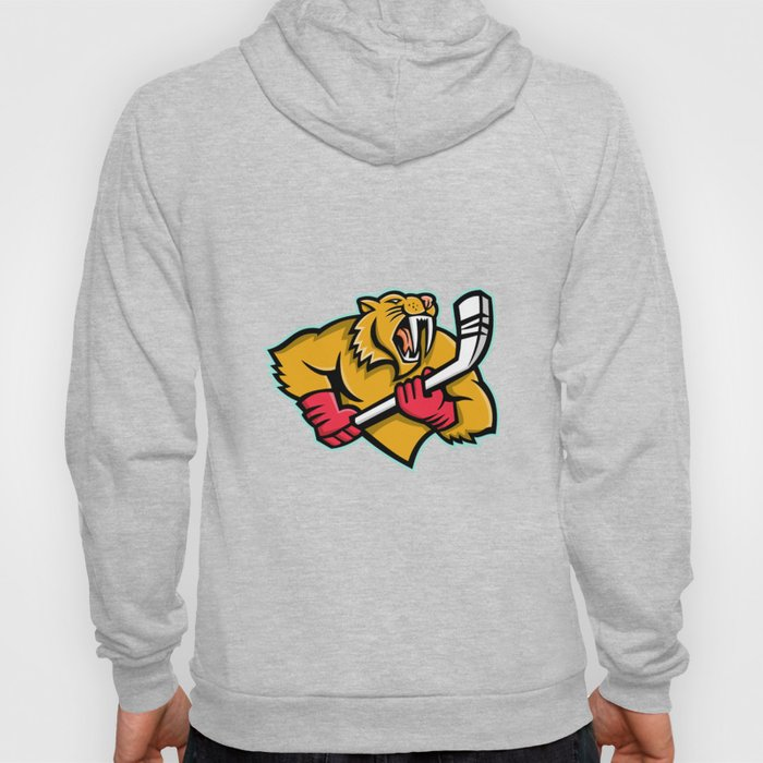 Saber Toothed Cat Ice Hockey Mascot Hoody