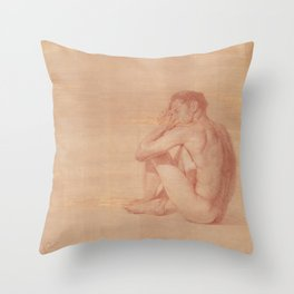 Male Nude Classic Figure Drawing Zen Peaceful Meditation Throw Pillow