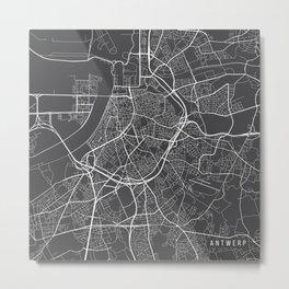 Antwerp Map, Belgium - Gray Metal Print