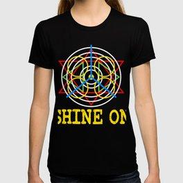 "A Shining Tee For A Wonderful You Saying ""Shine On"" T-shirt Design Star Circle Triangle Glowing  T-shirt"