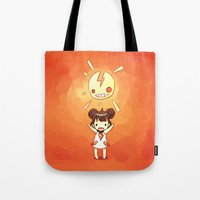 always sunny Tote Bags featuring Sunny by Freeminds
