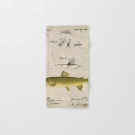 Vintage Brown Trout Fly Fishing Lure Patent Game Fish Identification Chart Hand & Bath Towel