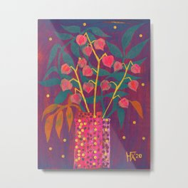 Chinese Lanterns in Neon Colors, Physalis, Abstract Botanical Bold Floral Metal Print