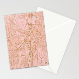 Pink and gold Medellin map, Colombia Stationery Cards