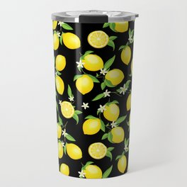 You're the Zest - Lemons on Black Travel Mug