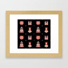 Kitty Kat Head Patterns with Dingbats Framed Art Print